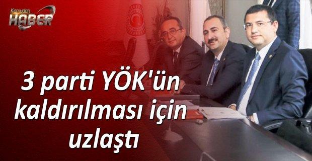 Ak Parti, CHP ve MHP temsilcileri, YÖK'ün kaldırılması konusunda uzlaştı.