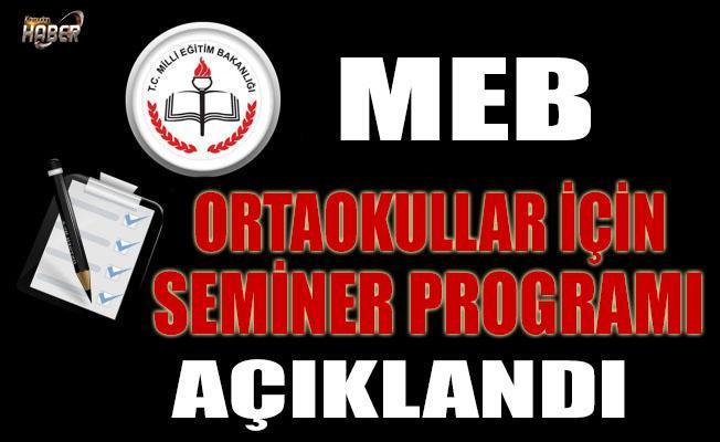 MEB, Ortaokullar için seminer programını açıkladı