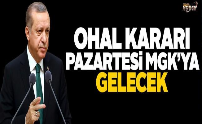 Cumhurbaşkanı Erdoğan, OHAL kararının Pazartesi MGK'ya geleceğini söyledi