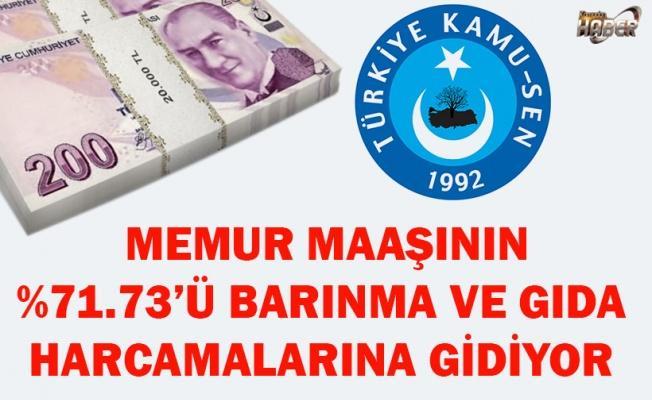 MEMUR MAAŞININ %71.73'Ü BARINMA VE GIDA HARCAMALARINA GİDİYOR