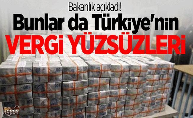 Türkiye'nin vergi yüzsüzlerini, Bakanlık açıkladı!