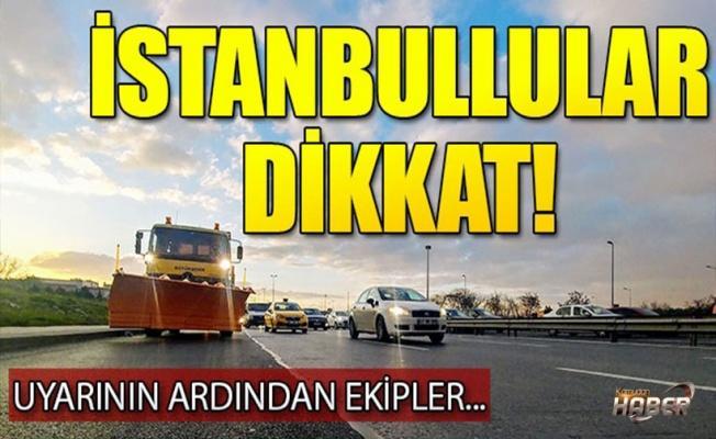 Kar küreme araçları İstanbul'da ana yollara indi