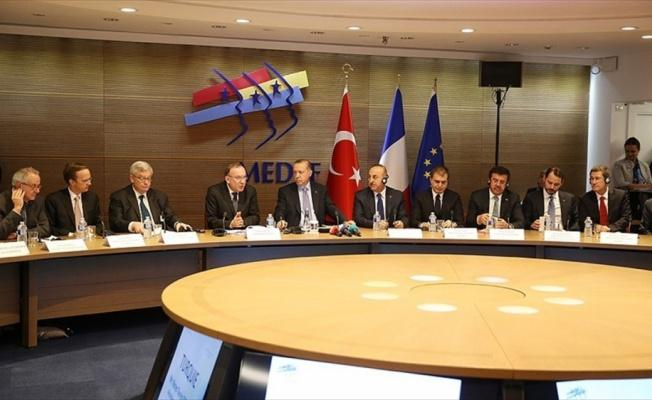 Erdoğan Paris'te iş dünyası temsilcileriyle buluştu