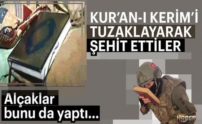 Afrin'de kahreden detay Kur'an'ı yerden almak isterken...