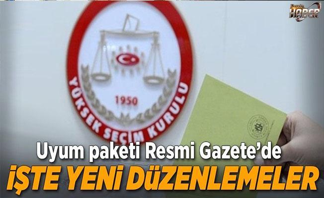 """""""Anayasa değişiklik uyum paketi"""" Resmi Gazete'de yayımlandı."""