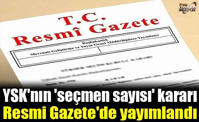 YSK'nın 'seçmen sayısı' kararı Resmi Gazete'de yayımlandı.