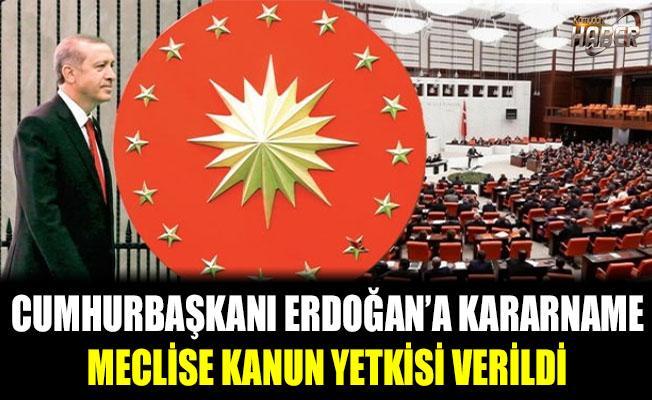 Cumhurbaşkanı Erdoğan'a kararname, Meclis'e kanun yetkisi verildi