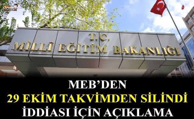 29 Ekim takvimden silindi iddiasına MEB'den açıklama