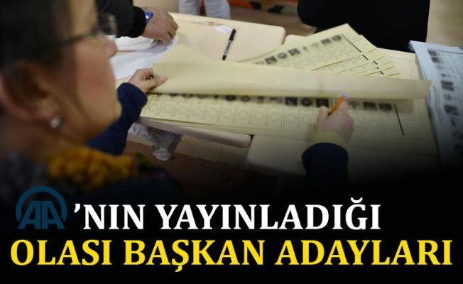 Anadolu ajansı'nın yayınladığı olası başkan adayları