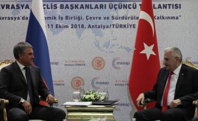 TBMM Başkanı Yıldırım, Rusya Devlet Duması Başkanı Volodin ile görüştü