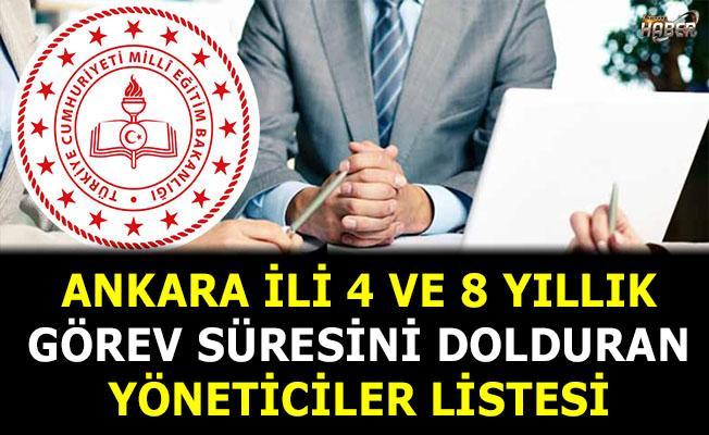 Ankara İli 4 ve 8 Yıllık Görev Süresini Dolduran Yöneticiler Listesi