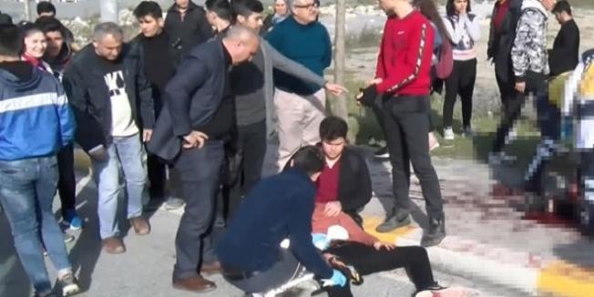 Okul önünde dehşet anları! 2 öğrenci yaralandı