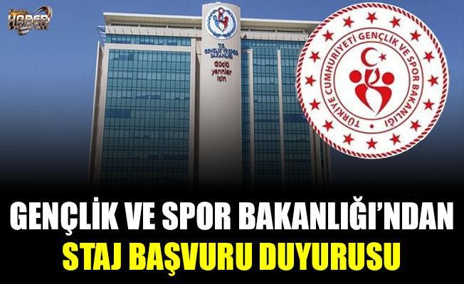 Gençlik ve Spor Bakanlığı, staj başvuru duyurusu yayımladı.