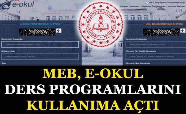 MEB, E-Okul Ders Programlarını kullanıma açtı