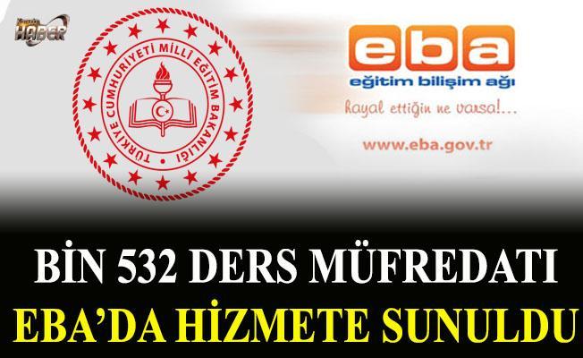 Bin 532 ders müfredatı EBA'da hizmete sunuldu