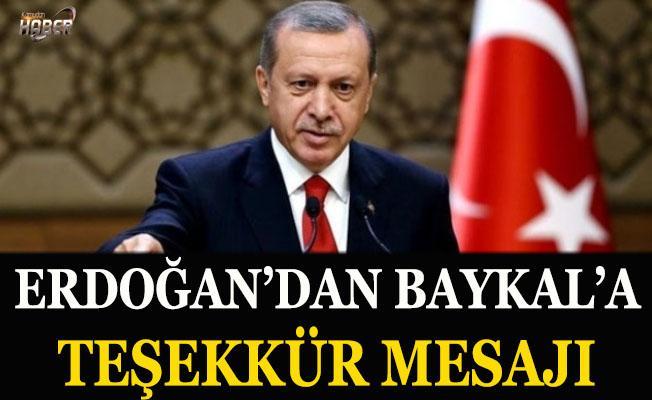 Erdoğan'dan Baykal'a teşekkür mesajı