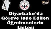 Diyarbakır'da Göreve İade Edilen Öğretmenlerin Listesi