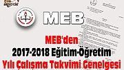 MEB'den 2017-2018 Eğitim-Öğretim Yılı Çalışma Takvimi Genelgesi