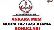 Ankara MEM Norm Fazlası Atama Sonuçları