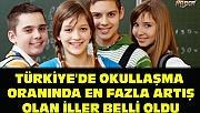 Türkiye'de okullaşma oranında en fazla artış Olan iller belli oldu