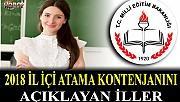 2018 İL İÇİ ATAMA KONTENJANLARINI AÇIKLAYAN İLLER- 44 İL-