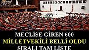 Meclise giren 600 vekilin Sıralı Tam Listesi