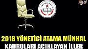 2018 Yönetici Atama Münhal Kadroları Açıklayan İller