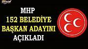 MHP 12'si il olmak üzere 152 belediye başkan adayını daha açıkladı