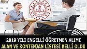 Engelli Öğretmen Alımı Alan ve Kontenjan Listesi açıklandı